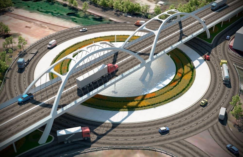 Maqueta render de puente vehicular