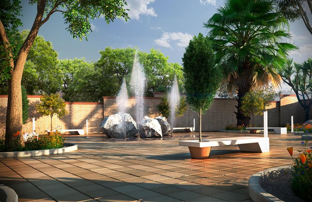 Render exterior de parques y jardines
