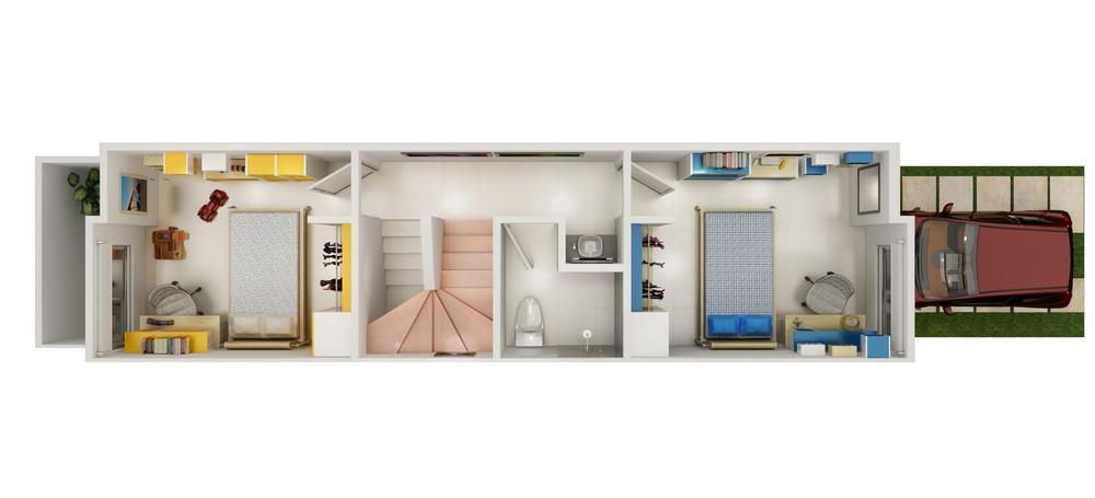 Maqueta render 3d de casa habitación