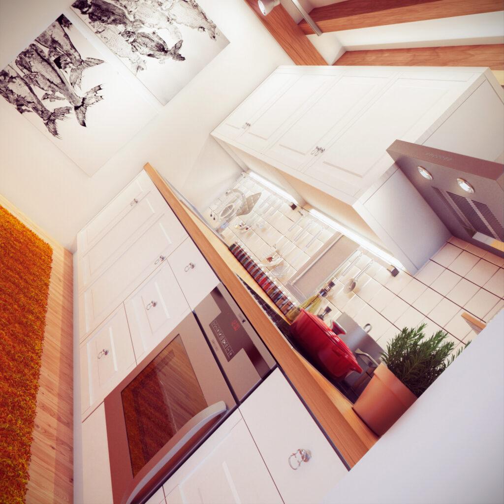 Imagen de perspectiva 3d interior.