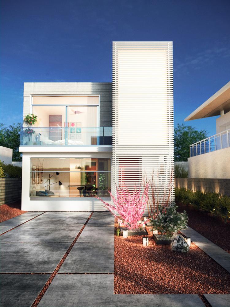 Render de fachada de casa moderna