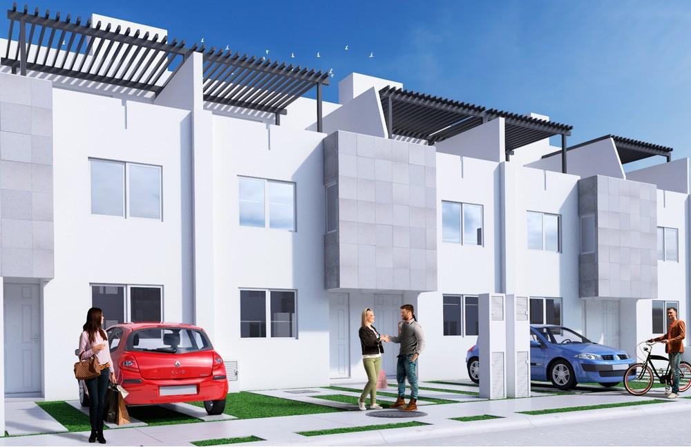 Imagen de perspectiva 3d de fachada de casas.