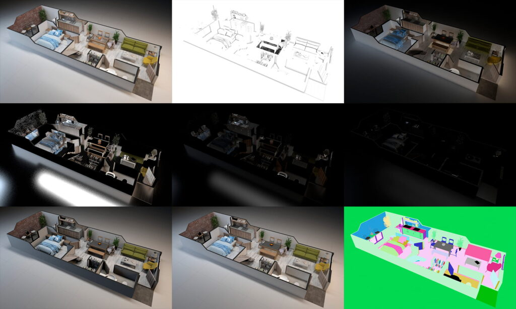 estos son los render elements vray postproducción photoshop render maqueta