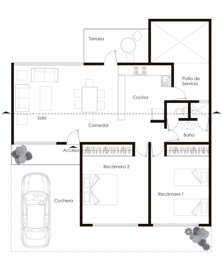 Planta Arquitectónica de Casa Habitación