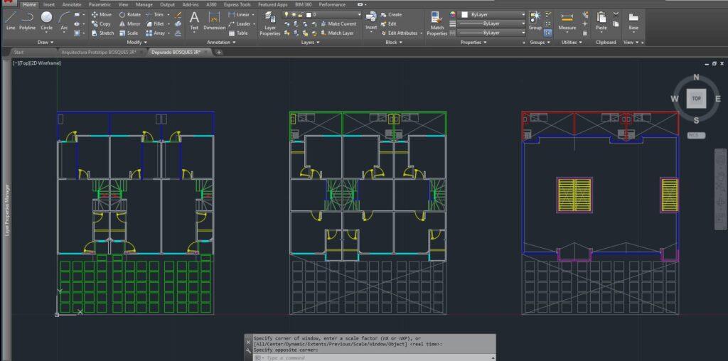 los planos de autocad depurados para utilizarlos dentro del tutorial render maqueta que vamos a insertar en 3ds max