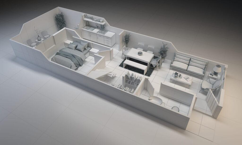 este es el render maqueta arquitectónica con material e iluminación básicos