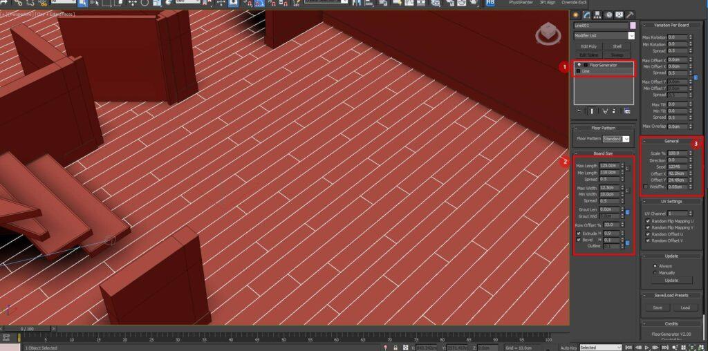 Plugin Floorgenerator que utilizo para crear pisos  dentro de 3ds max para un render de maqueta