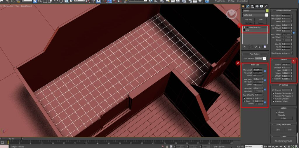 configuracion floor generator para modelar pisos del render maqueta