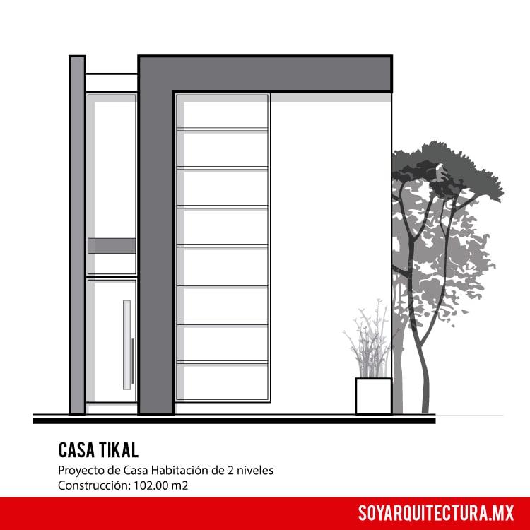 Fachada moderna y minimalista de casa de dos pisos