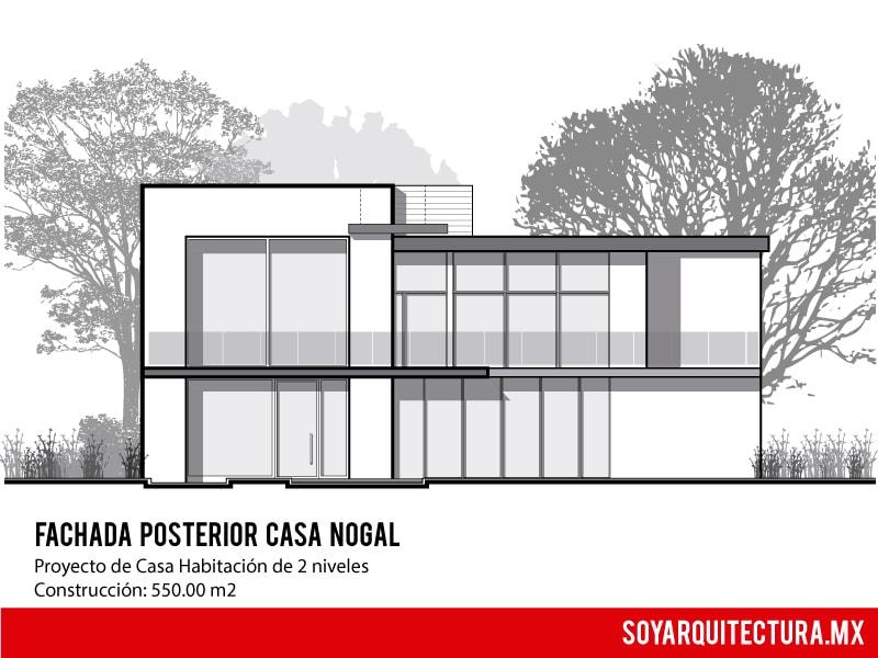 Fachada moderna de casa de dos pisos