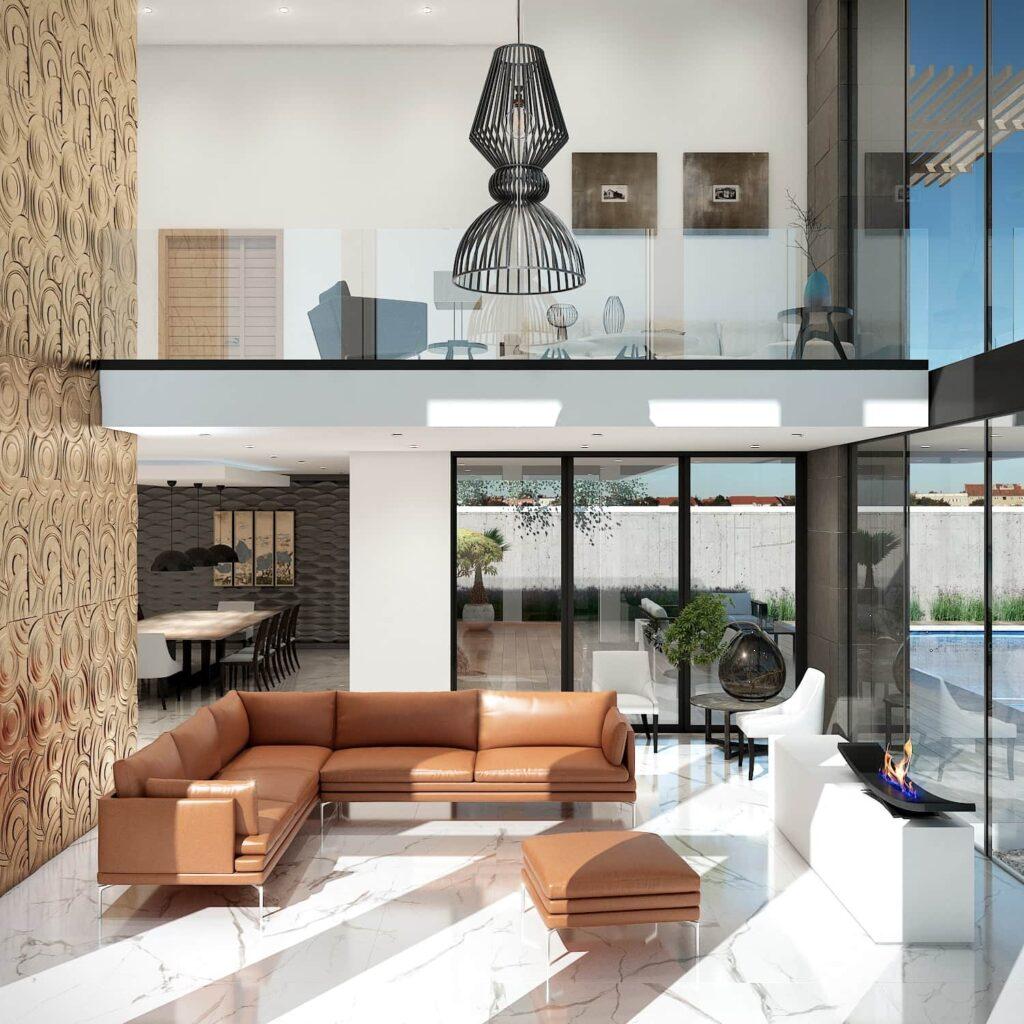 El diseño de interiores de este proyecto es elegante y distinguido