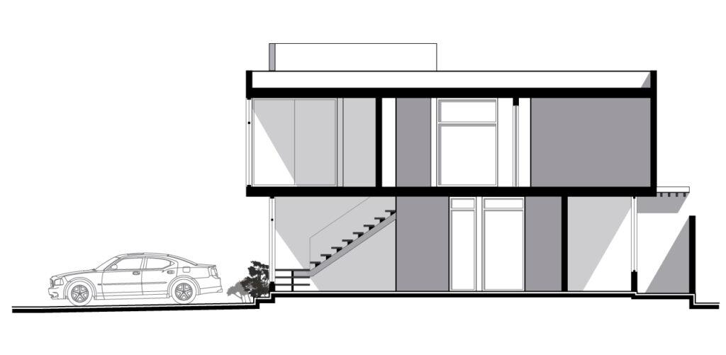 Corte transversal de una casa habitación