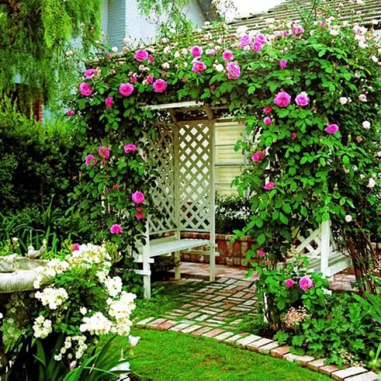 Diseño de jardín con flores