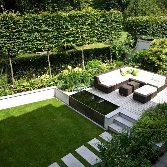 Diseño de jardines modernos y terraza