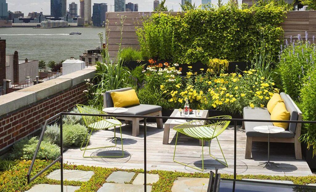 Una terraza convertida en un techo verde
