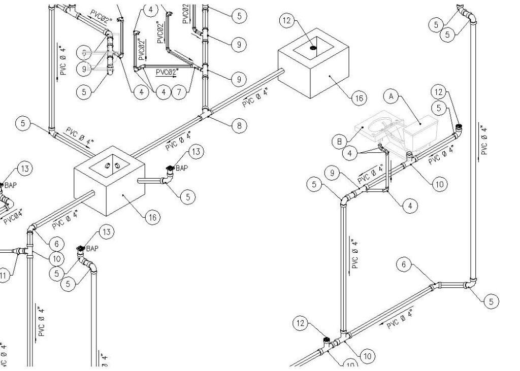 Isométrico de instalación sanitaria