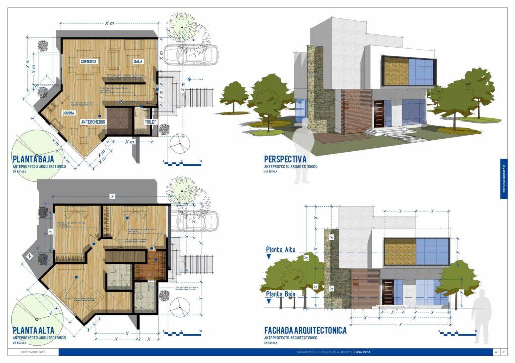 Proyecto arquitectónico de casa de dos niveles