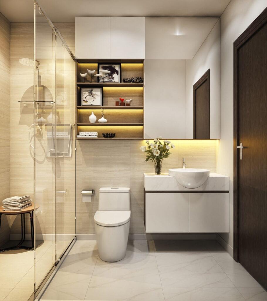 Cálido diseño de baños con armario para toallas y decoración