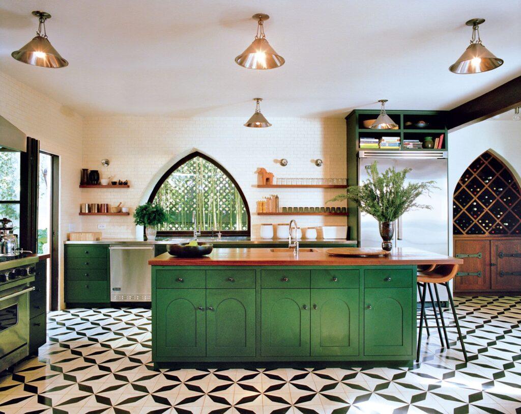 Diseño de cocina en color verde. (La casa de Los Felices, California. Foto François Halard. Vogue mayo de 2013