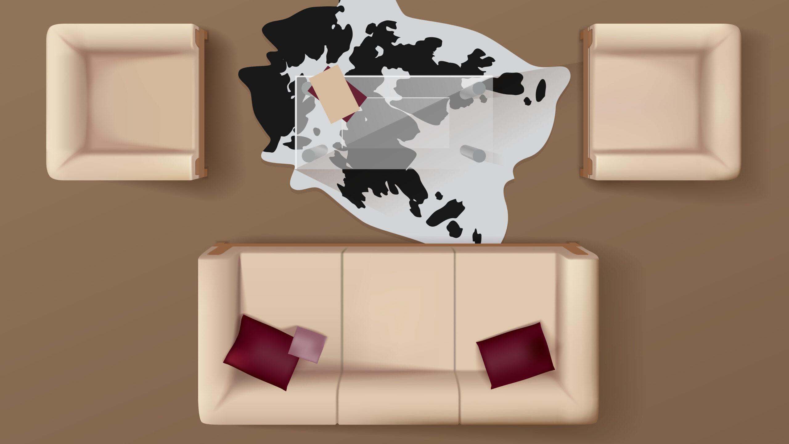 Organización correcta de los muebles de sala