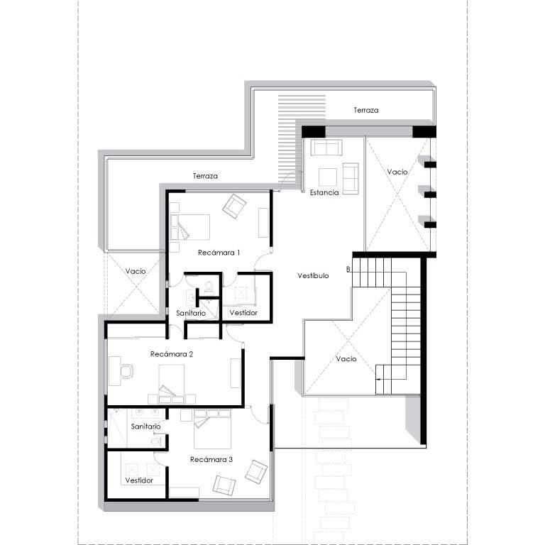 El diseño de la planta alta con espacios tan amplios la convierte en tu casa ideal