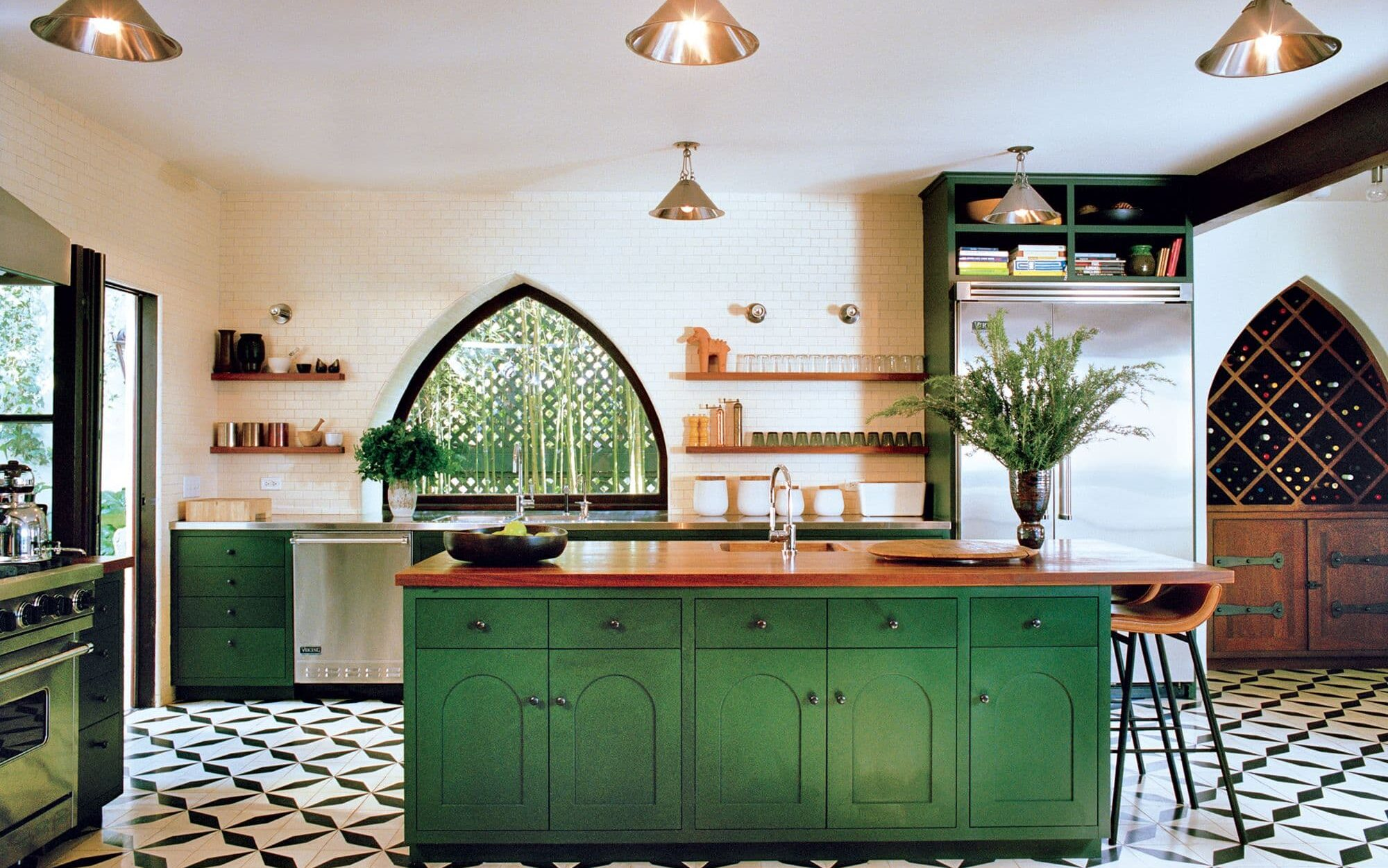 Diseño de cocina en color verde