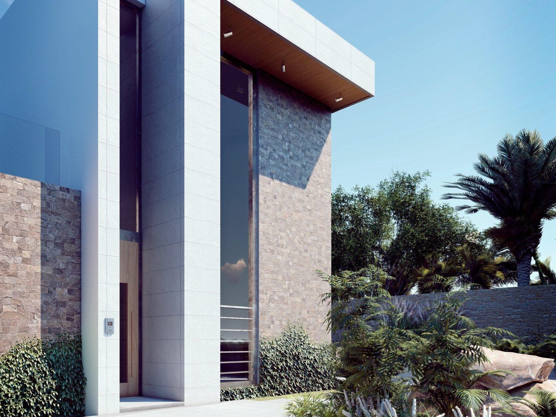 Fachada de casa de dos niveles minimalista moderna