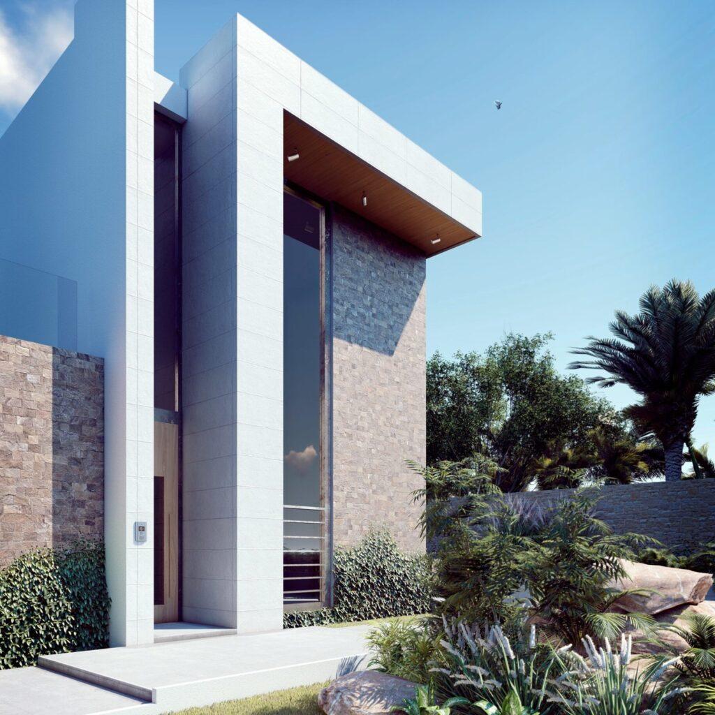Renders de proyecto arquitectónico para casa residencial vista derecha