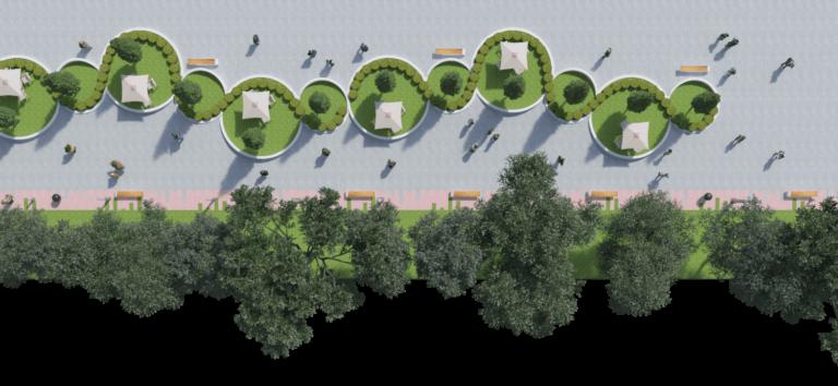 Maqueta render parque público
