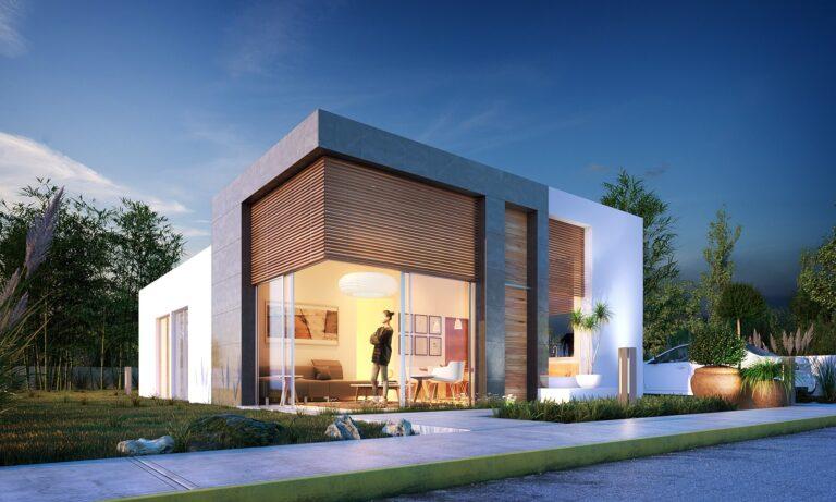 Casa de un piso moderna. Diseño de fachada moderna